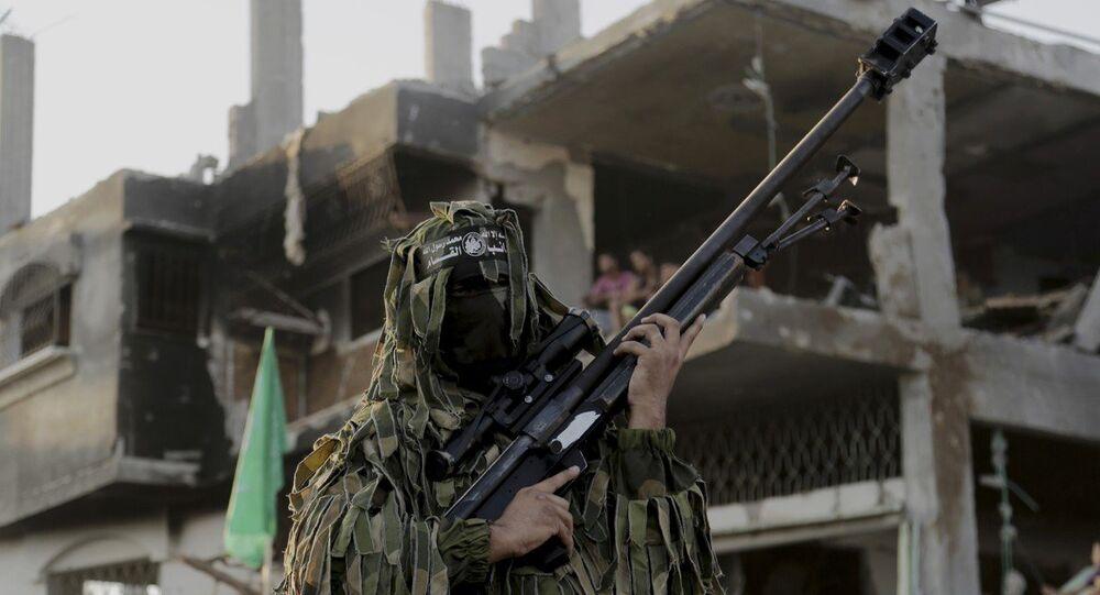 A Palestinian militant of Izzedine al-Qassam Brigades, military wing of Hamas