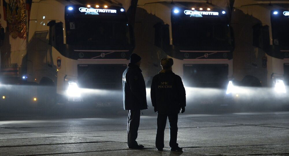 The eighth automobile column with humanitarian freight on the Southeast of Ukraine