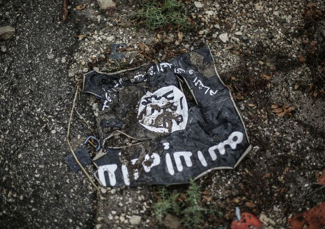 The flag of the radical Islamist organization Islamic State of Iraq