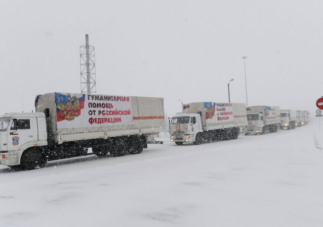 Humanitarian aid convoy for eastern Ukraine's Donbas. File photo.