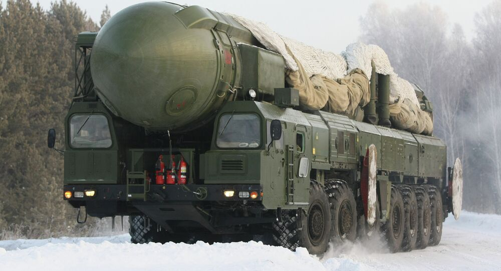 The RT-2PM Topol ballistic missile riding to the site of its permanent deployment with the Strategic Missile Forces of the Central Military Distric