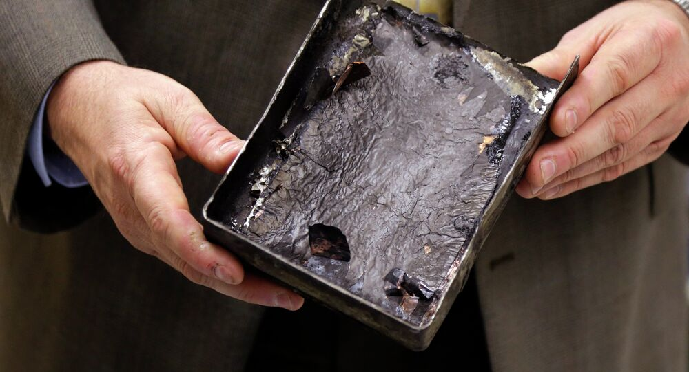 Fire-damaged battery casing from the Japan Airlines Boeing 787 Dreamliner that caught fire at Logan International Airport in Boston