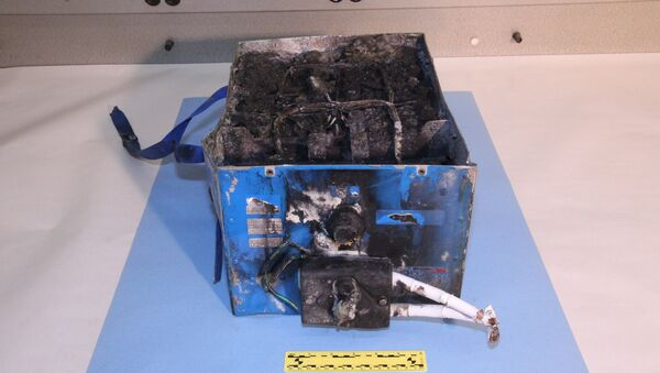 This undated image provided by the National Transportation Safety Board shows the burned auxiliary power unit battery from a JAL Boeing 787 that caught fire - Sputnik International