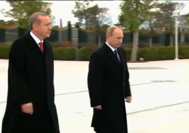 Putin Welcomed by Turkish President Recep Erdogan at Ankara Airport