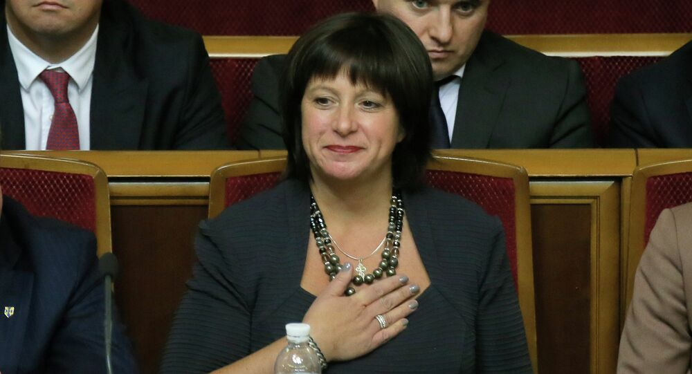 Ukraine's Finance Minister Natalie Jaresko, a US national with experience working for the State Department in Washington, during a parliament session in Kiev, Ukraine
