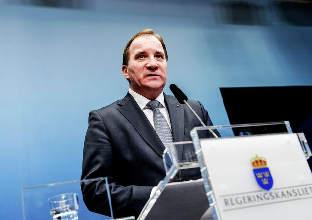 Sweden's Prime Minister Stefan Lofven speaks during a news conference at the Chancellery in Stockholm