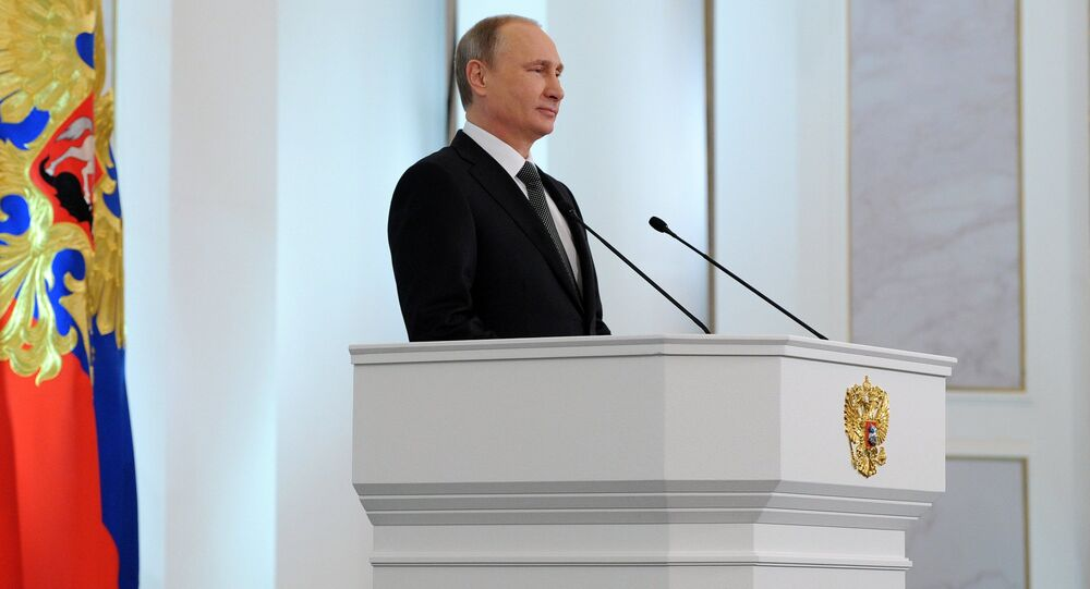 Russian President Vladimir Putin delivers the annual Presidential Address to the Federal Assembly