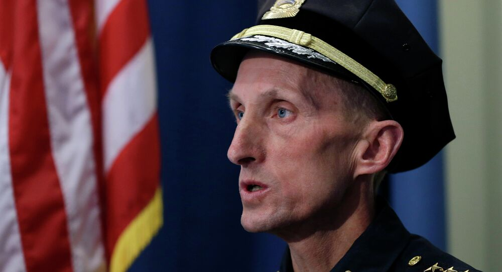 In this April 23, 2013 file photo, then Boston Police Superintendent William Evans speaks during a news conference in Boston as he describes the scene in Watertown, Mass.