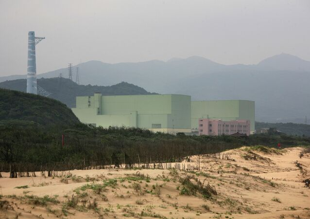 Lonngmen Nuclear Power Plant is seen behind Fulong beach in Gongliao Township, northeastern Taiwan