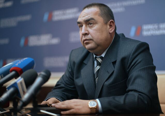 Prime Minister-elect of the Luhansk People's Republic Igor Plotnitsky during a news conference in Luhansk