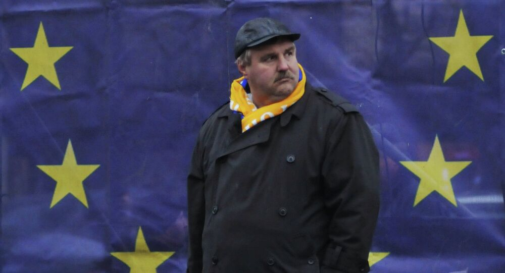 A supporter of European integration is seen here during memorial events in Lviv dedicated to the kick-off of Kiev's Maidan developments