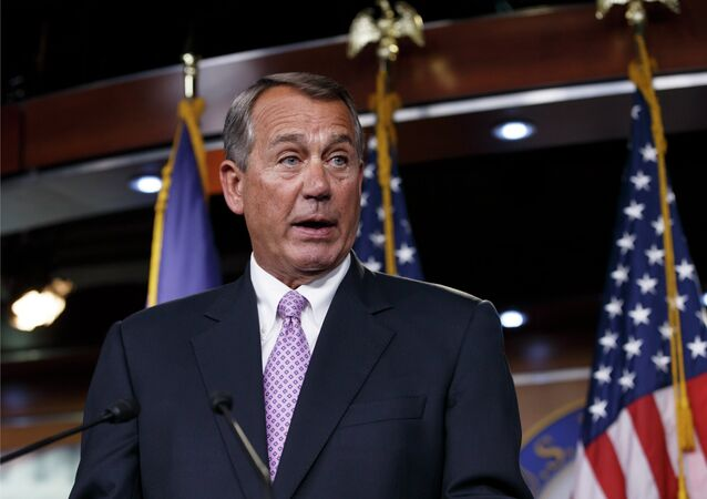 John Boehner of Ohio meets with reporters on Capitol Hill in Washington