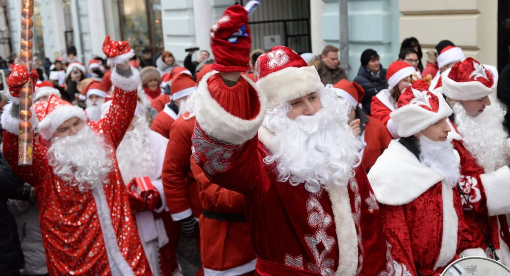 A costume parade of Ded Moroz's in the center of Moscow