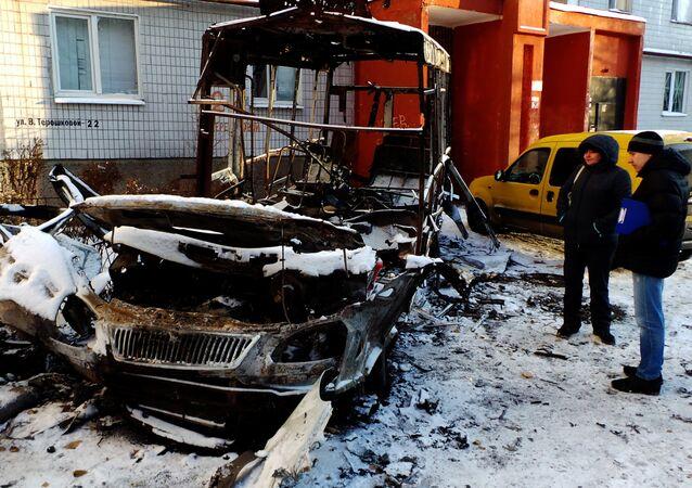 Consequences of artillery firing on Donetsk's Kirovsky District