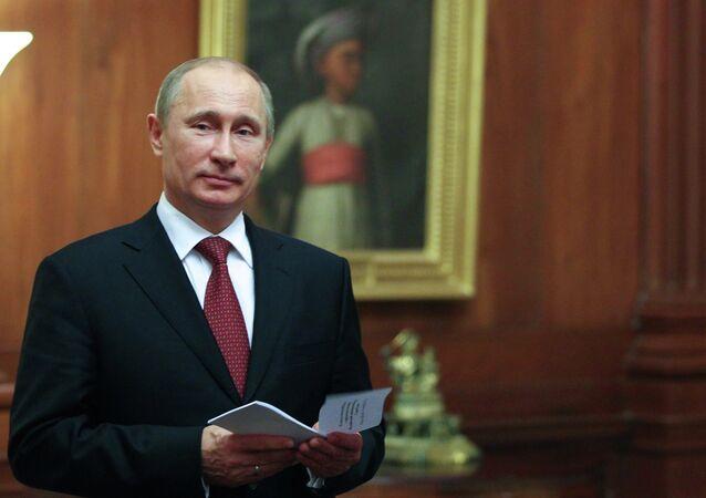 President Vladimir Putin at the Presidential Palace in New Delhi