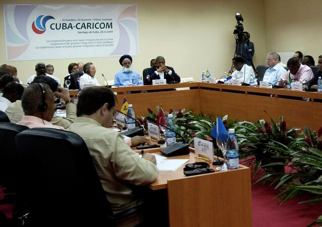 Presidents and top ministers from all members of the Caribbean Community, Caricom, attend the opening ceremony of its meeting in Santiago, Cuba