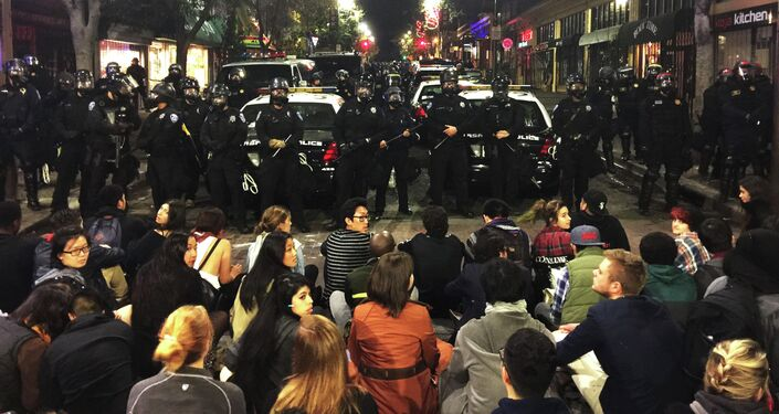 This photo provided by Gabriel Reyes shows the protest in Berkeley, Calif., Sunday, Dec. 7. 2014