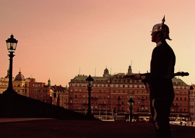 Royal Guard at the Stockholm Palace in early morning hours.