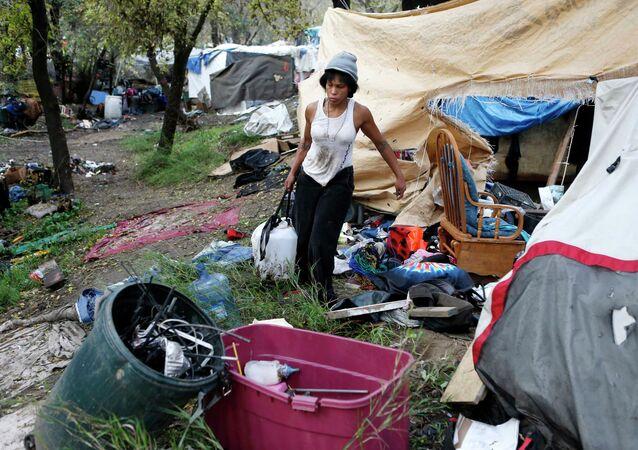 A homeless encampment occupant
