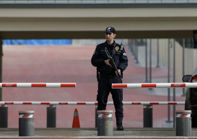 A police officer guards an entrance of the new Presidential Palace in Ankara