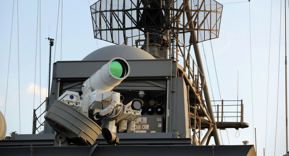 The laser weapon system (LaWS) is tested aboard the USS Ponce amphibious transport dock during an operational demonstration while deployed in the Gulf
