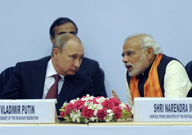 Russian President Vladimir Putin (left) and Indian Prime Minister Narendra Modi attending the World Diamond Conference in the Vigyan Bhawan Palace, New Delhi