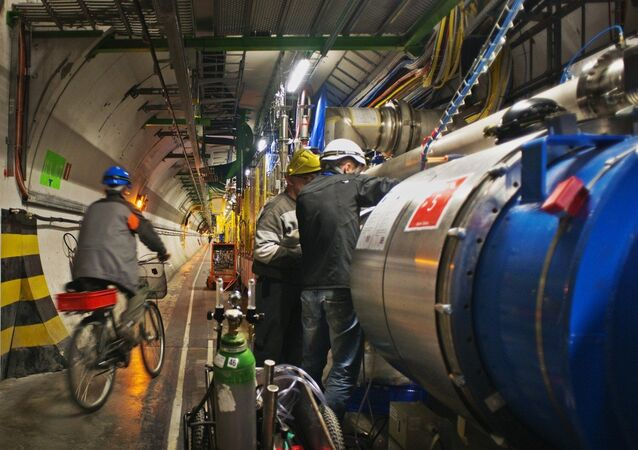 An engineer on a bicycle provided for tunnel transportation rides past engineers working on the Large Hadron collider in the 27Km circular tunnel at CERN near Geneva amid a scheduled 2013 shutdown.