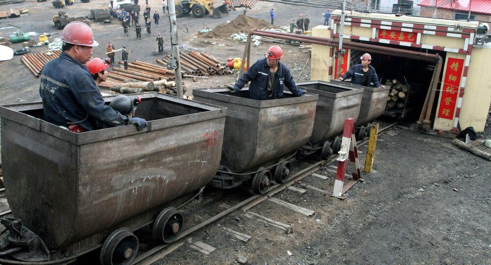 Miners enter the Jiayi Coal Mine in Jidong County of Jixi City
