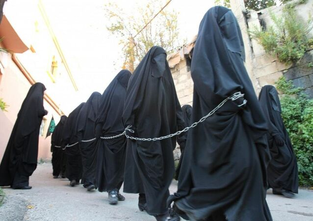 Chained  hijab-clad  women