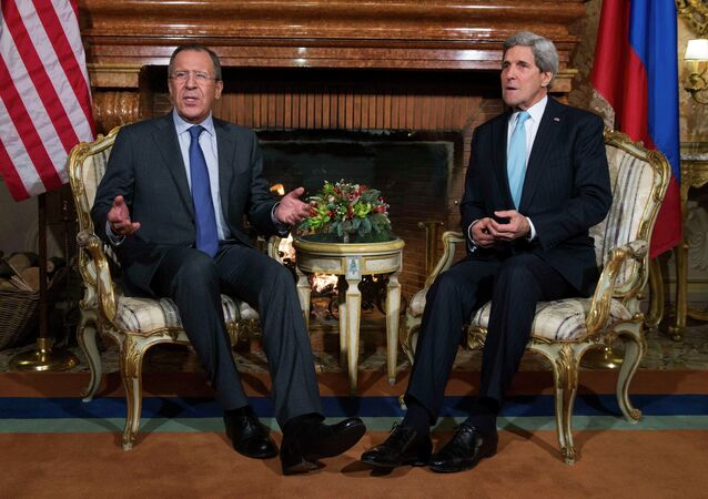 U.S. Secretary of State John Kerry (R) meets Russia's Foreign Minister Sergei Lavrov