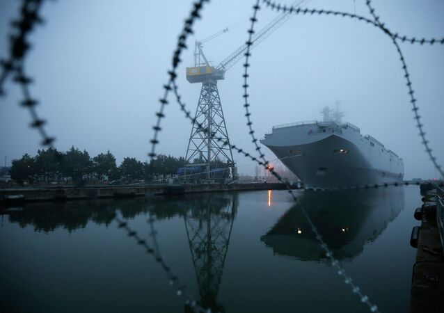 The Mistral-class helicopter carrier Vladivostok is seen at the STX Les Chantiers de l'Atlantique shipyard site in Saint-Nazaire