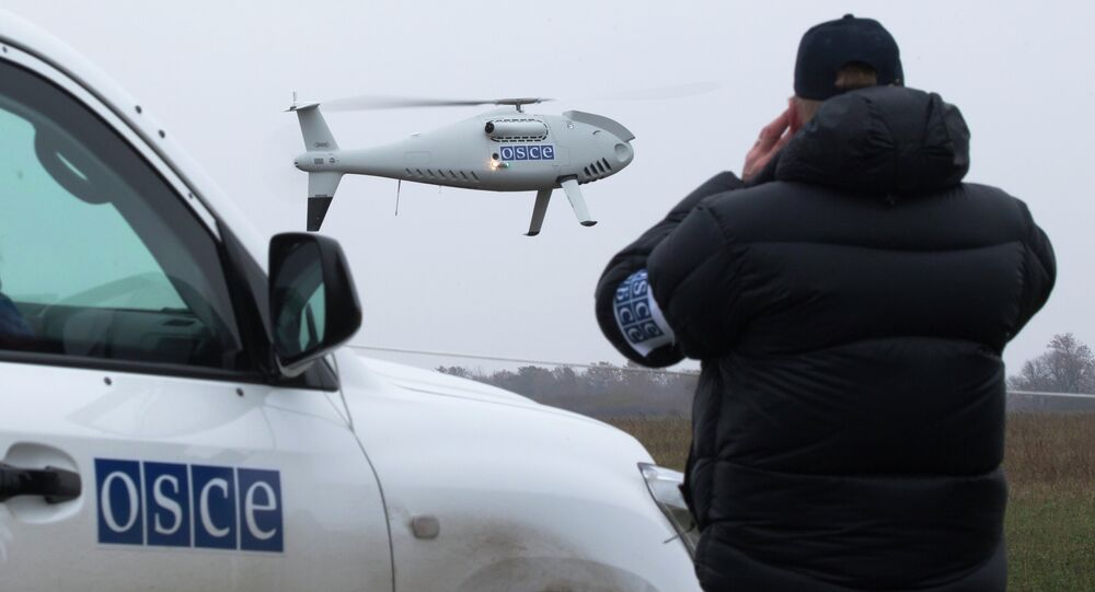 A member of the Organization for Security and Co-operation in Europe (OSCE) mission to Ukraine watches a drone take off during a test flight near the town of Mariupol, eastern Ukraine, Thursday, Oct. 23, 2014