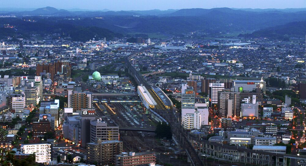 Fukushima Station and Shinkansen Tracks at Twilight