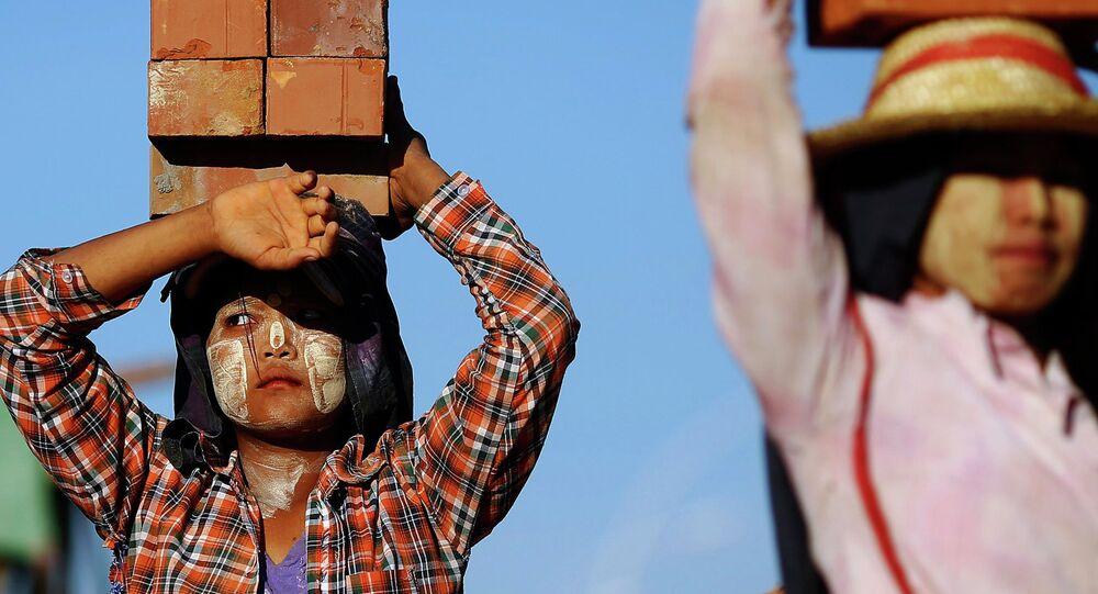 Workers in Myanmar