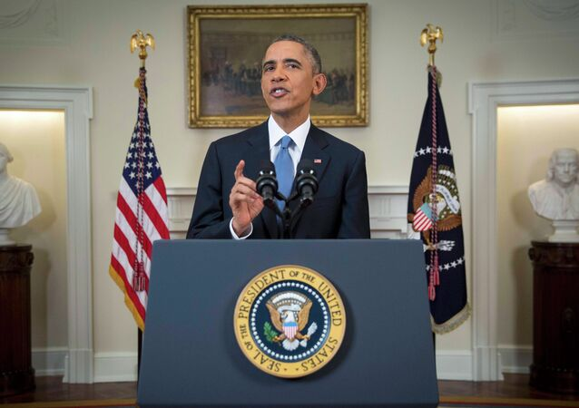 U.S. President Barack Obama announces a shift in policy toward Cuba while delivering an address to the nation from the Cabinet Room of the White House in Washington, December 17, 2014.