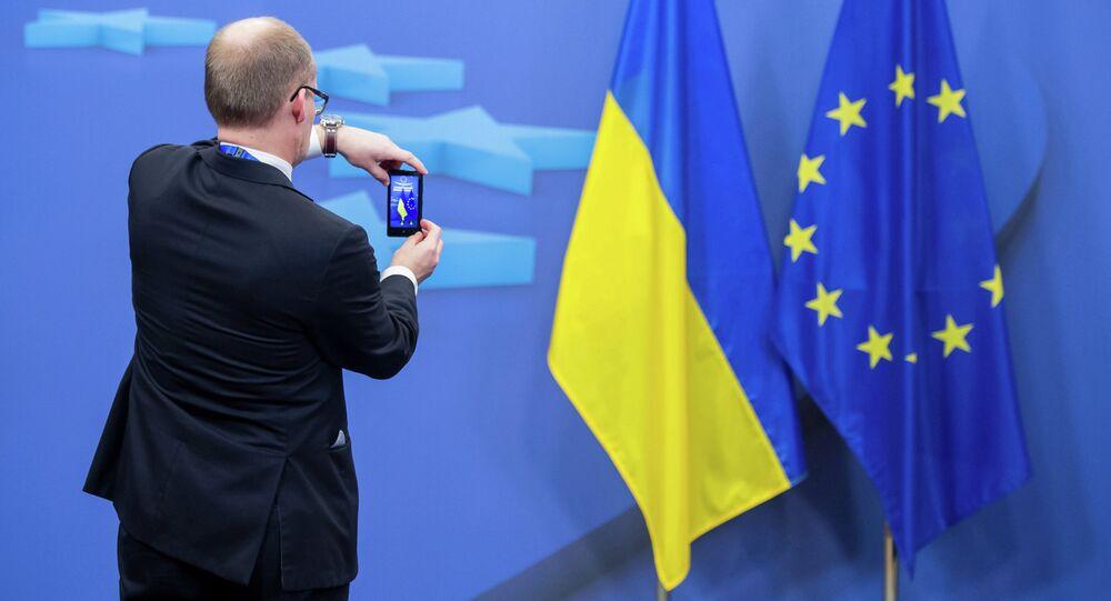 Ukrainian and EU flags
