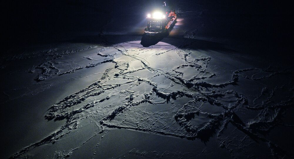 View from the helicopter on the nuclear icebreaker 50 Years of Victory, heading to the North Pole