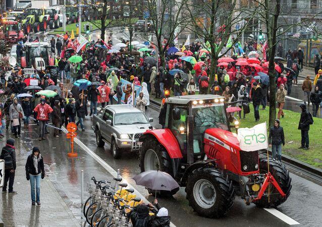 Farmers protest near the European Commission headquarters