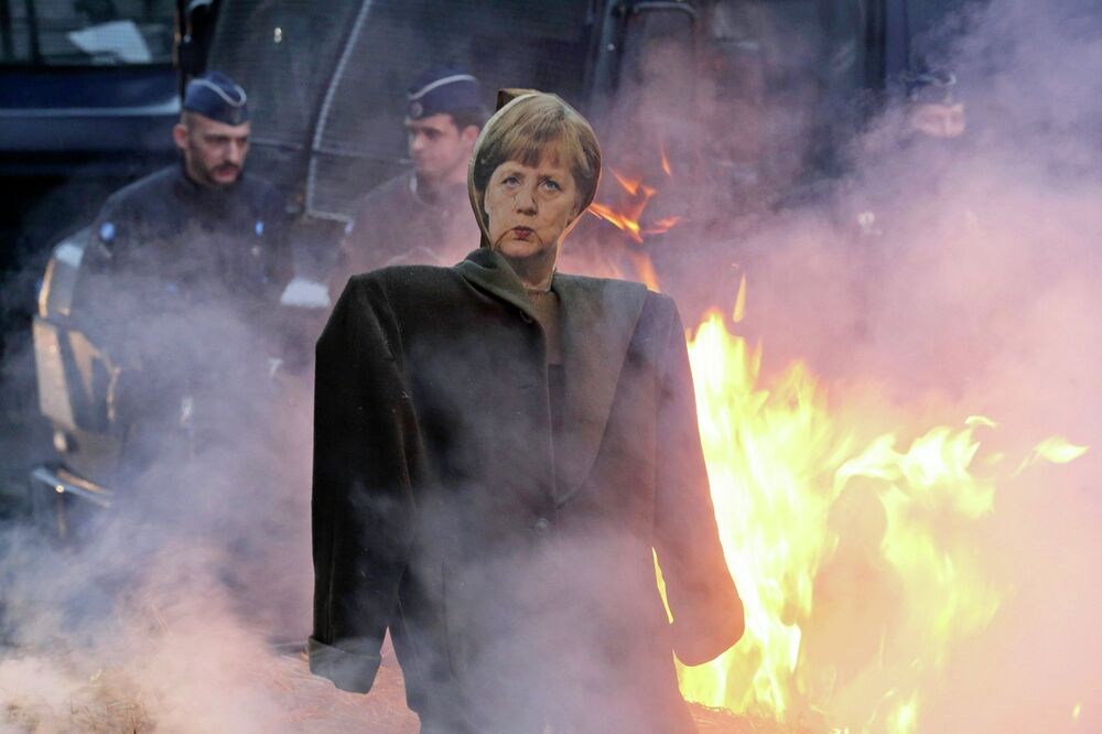 An effigy of German Chancellor Angela Merkel