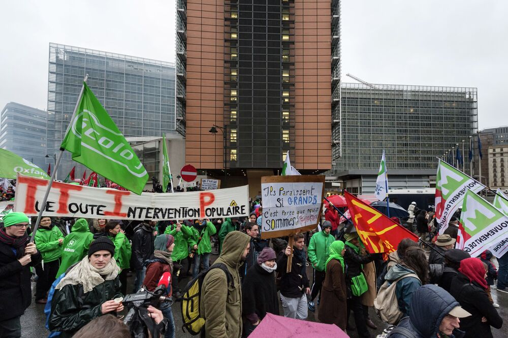 Farmers march near the European Commission headquarters