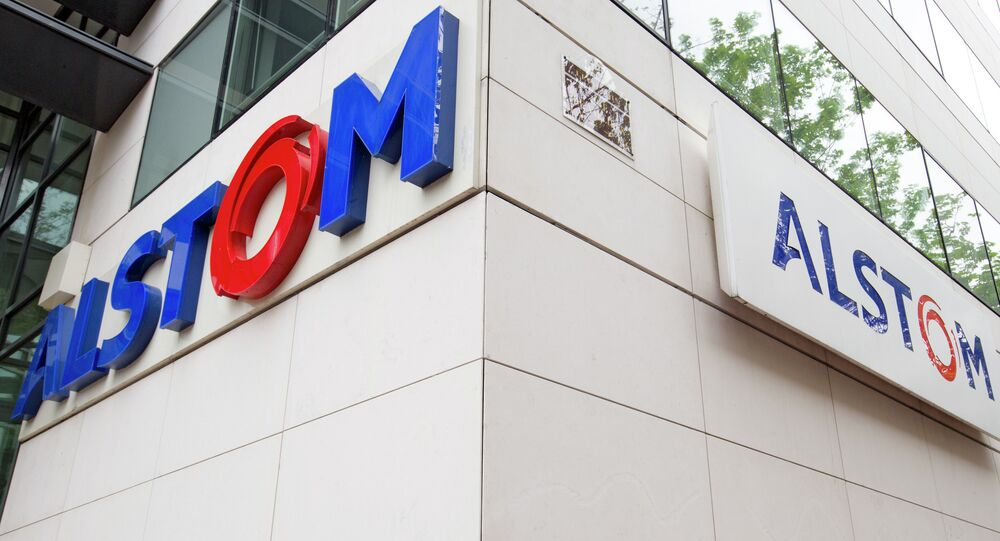 View of the Alstom company logo at the headquarters of the leading global maker of high-speed trains