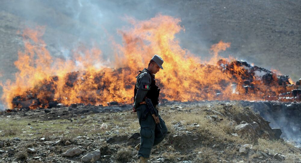 An Afghan police soldier walks past opium and narcotics set on fire during a drug burning ceremony on the outskirts of Kabul, Afghanistan, Wednesday, Oct. 29, 2014