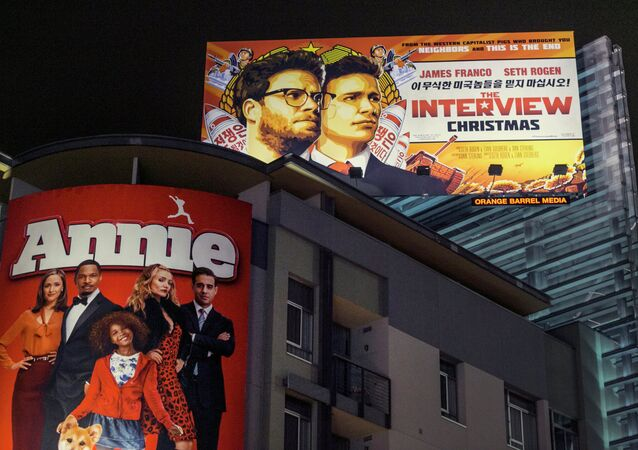 A banner for The Interviewis posted outside Arclight Cinemas, Wednesday, Dec. 17, 2014, in the Hollywood section of Los Angeles