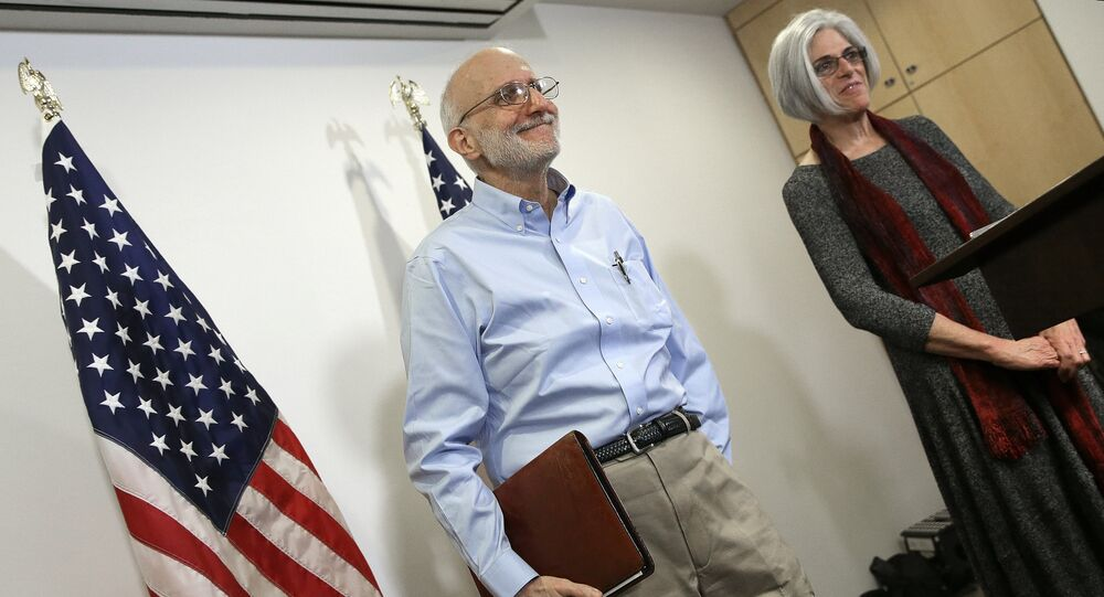 USAID subcontractor Alan Gross has been paid a $3.2 million settlement following his release from a Cuban prison. Pictured: Gross with his wife Judy at a press conferewnce in Washington, D.C. shortly after his release
