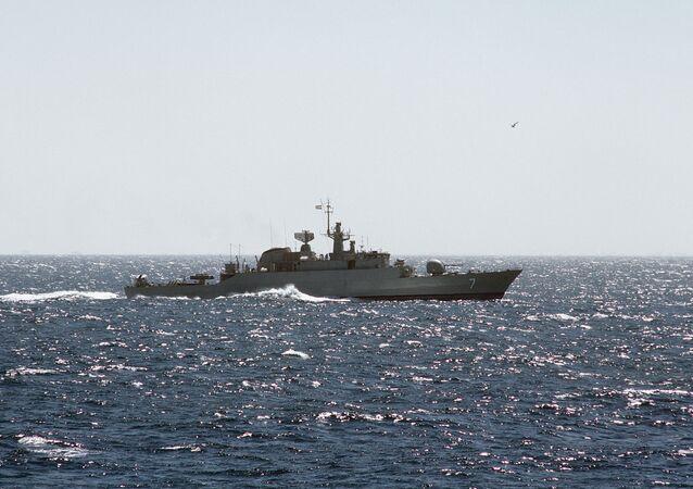 An Iranian Alvand class frigate at sea.