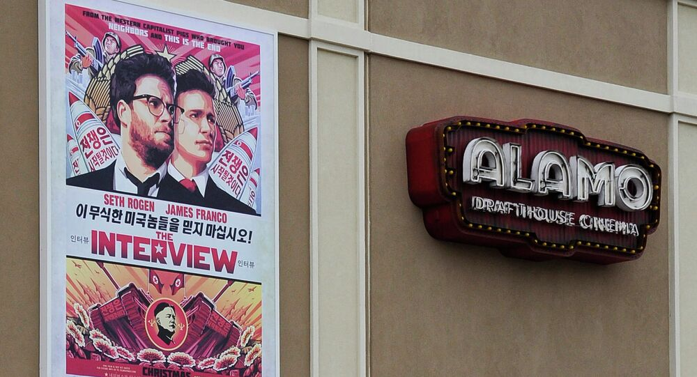 A large poster advertising the movie The Interview hangs on the back wall of the Alamo Drafthouse Cinema Tuesday in Houston