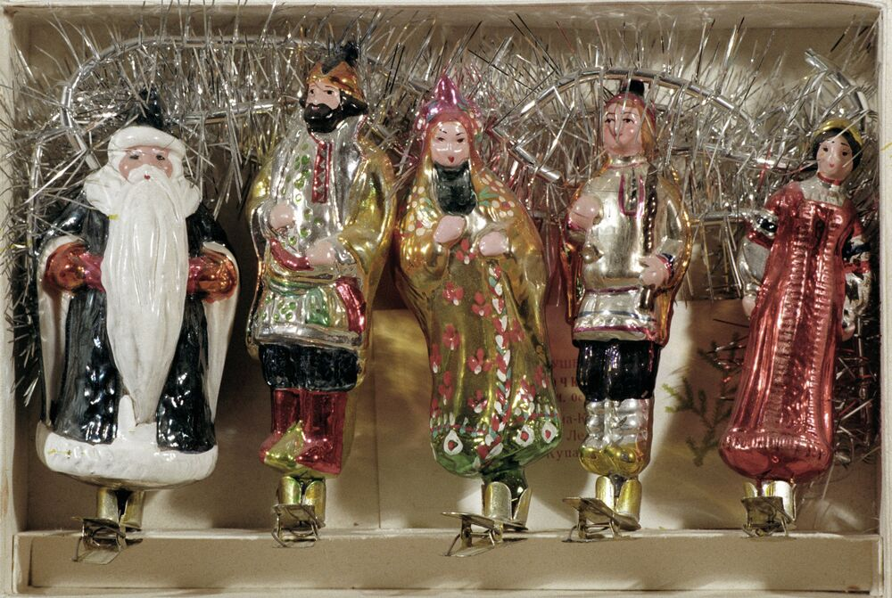 A set of toys for a Christmas tree decorated with personages from Russian fairy-tales