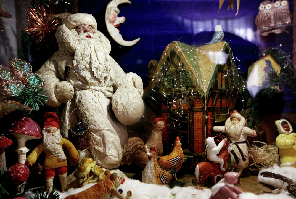 Items from Irina Keichina's collection of 1930s-70s Christmas tree decorations and toys