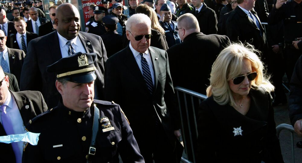 Vice president Joseph Biden and his wife Jill arrive for the funeral service for slain New York Police Department (NYPD) officer Rafael Ramos at the Christ Tabernacle Church in the Queens borough of New York December 27, 2014.