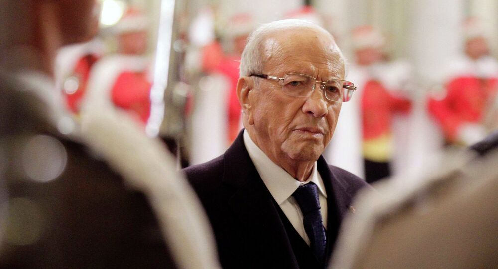 Tunisia's new President Beji Caid Essebsi attends the ceremony of transfer of power at the Carthage Palace in Tunis December 31, 2014